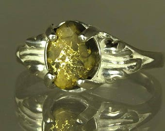 Native Gold in Quartz  2.16 ct  / from California / Handset in Sterling Ring/  NOW on SALE  / Fast Free Shipping, Gift Wrap
