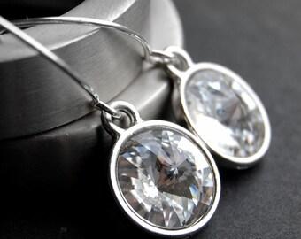 Clear Crystal Earrings, Swarovski Crystal Rivoli Drops, Clear Dangly Crystal Earrings,Sterling Silver Earwires