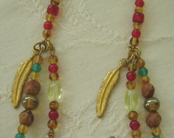 Hand Beaded French Hook, Western Earrings