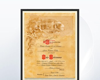 Personalized Marriage Certificate - Simple Art Nouveau Design - Custom Marriage Certificate - Beautifully Antiqued - Wedding Party Art