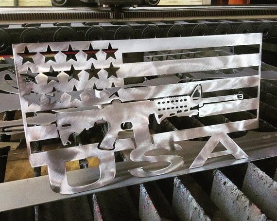 AR-15 flag metal art with USA on bottom
