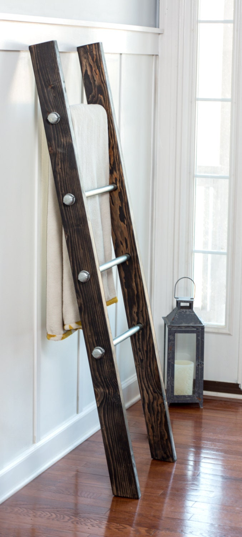 Wood Ladder Blanket Ladder Modern Industrial Deco