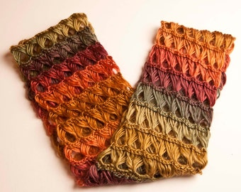 Infinity Scarf - Polo Color - Broom Stick Stitch - Roving Yarn -
