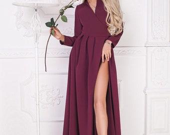 Fuchsia long dress/ Cut out dress/ Fuchsia maxi dress / Fuchsia evening dress / Fuchsia dress / Fuchsia cocktail dress / Prom dress