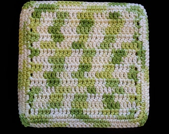 100% Cotton Hand Crocheted Pot Holder Hot Pad Doily Trivet Color: KEY LIME PIE