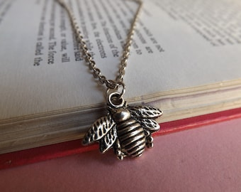 Tiny bumblebee silver charm necklace (choose your chain length) (bee, insect, wings, honey, melittology, wildlife, nature, wasp)