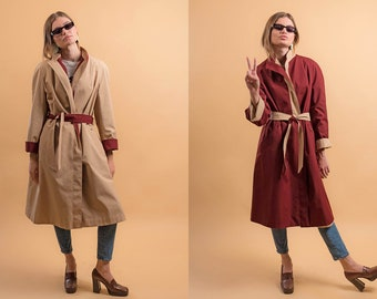 70s Reversible Trench Coat / Etienne Aigner Trench Coat / Wrap Coat / 70s Rain Coat Δ fits sizes: XS/S/M/L