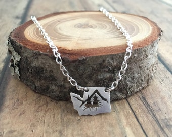 Washington State Mountains and Pine Trees Necklace, Hand Cut Sterling Silver Washington State Necklace with Mountains and Pine Trees