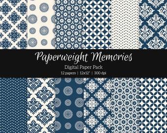 "Digital patterned paper - Always Blue - digital scrapbooking - scrapbook paper - 12x12"" 300dpi  - Commercial Use"