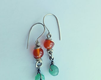Gemstone Earrings Beaded Wire Wrapped earrings for Women Jade and Carnelian stone Everyday Simple earrings Wire wrap jewelry Handmade gift