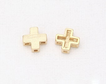 Cross Beads Matte Gold-Plated - 4 Pieces [B0007-MG]