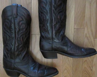 Vintage Dan Post Black Reptile Skin Cowboy Boots