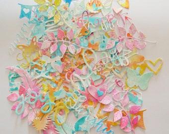 Scrapbook Watercolor Die Cuts & Smash book add-ons - set of 30 assorted scrapbook embellishments