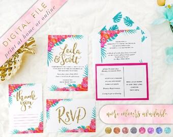 Tropical Wedding Invitation, Printable, Tropical Invitations, Beach Wedding Invitation, Destination Wedding Invitation, Printable Invitation