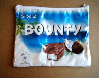 Recycled zippered bag - chocolate Bounty