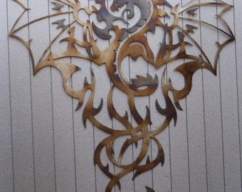 "Dragon Metal Art - HEAT COLORED, 23.5"" (60 cm) Tall"