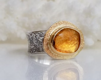 Yellow Citrine Stone Ring , Fused Ring, One of a kind, Handmade, Yellow stone,