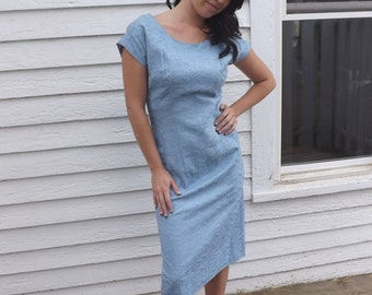 Vintage Blue Dress 50s 60s Sleeveless Chic Embroidered 1950s 1960s