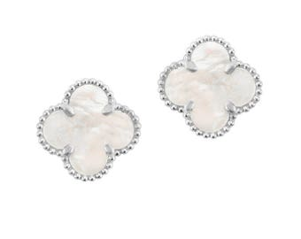 18k White/Yellow Gold Over Sterling Silver 925 Mother of Pearl Clover Stud Earrings 15.0mm