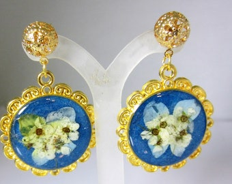 Bridal Wreath Flowers,  Real Flower  Post Earrings, Pressed Flower Jewelry, Resin (2059)