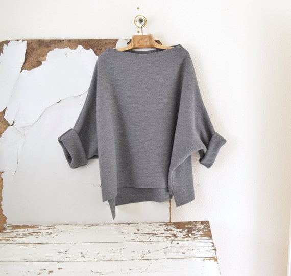 Byloom and Hyde Grey Boiled Wool Tunic Sweater.