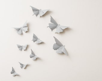 3D Wall Butterflies: Fog Grey Butterfly Silhouettes for Home Art Decor, Nursery, Children's Room