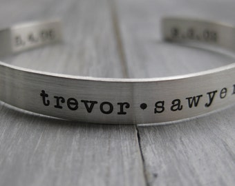 Double Sided Sterling Silver Cuff Bracelet Personalized Jewelry Hand Stamped Name Bracelet Name Jewelry Mothers Bracelet Birthdates Birthday