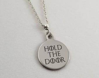 Sale Game of Thrones Hodor Necklace, Hold The Door Necklace, Game of Thrones Gift, Hodor Jewelry, Birthstone Jewelry, Clearance Jewelry