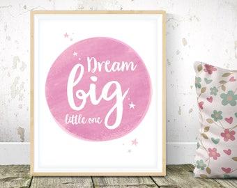 Baby girl nursery decor - Dream big little one nursery art, girls room decor, minimalist nursery, Scandinavian art, cute room decor new baby