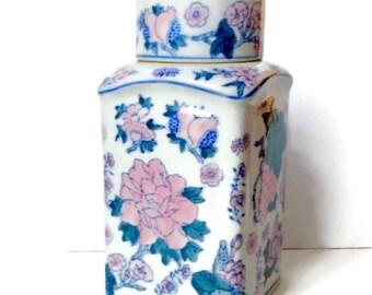 Vintage Chinese Ginger Jar with pink  colored flower design
