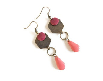 Brass, raspberry and pink coral earrings