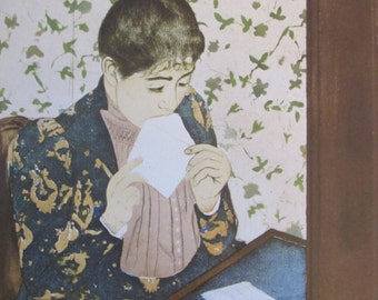 Mary Cassatt- The Letter,1891, Color Plate/ Book Print/6.5 x 10 in