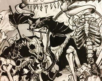 Skeleton Parade Drawtober 2017