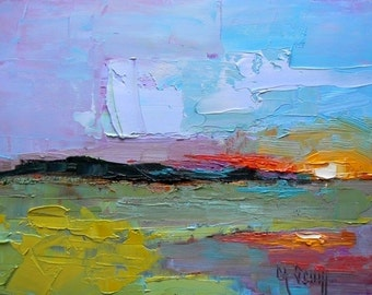 Abstract Landscape Giclee Canvas Print,Large Abstract Art Print,  Knife Abstract Canvas Print,  Free Shipping, Choose your Size, No Frame