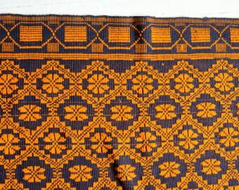 Orange and Navy vintage Peruvian manta textile blanket tablecloth