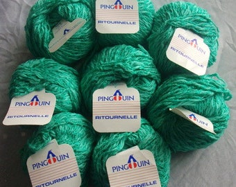 Eight 50g skeins Pingouin Ritournelle cotton and viscose yarn in green