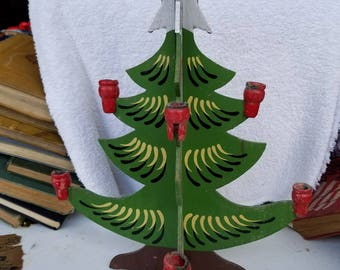 Wooden Christmas Tree Candelabra