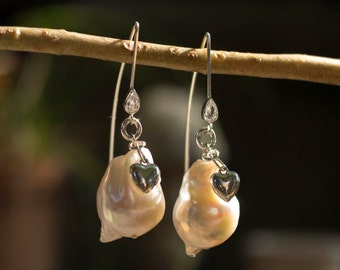 Freshwater Pearl Earrings with Silver Hearts