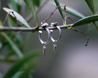 Sterling Silver Mini Fang Hoops