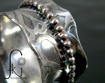 Sterling Silver Spinner Fidget Ring with Beaded Spinner & Scalloped, Wavy Edge, Handcrafted, Size 8.5, Anxiety Ring, Fidget Ring