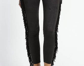 Black Tassel Leggings