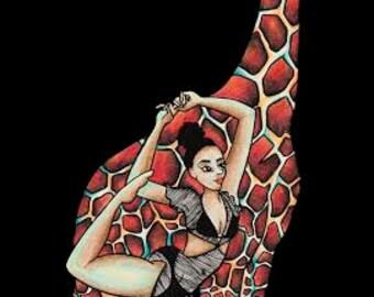 Timeka Doing Yoga With Her Giraffe (Print)