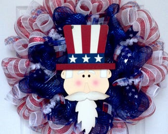 Uncle Sam Yankee Doodle Dandy Patriotic Deco Mesh Wreath Handmade