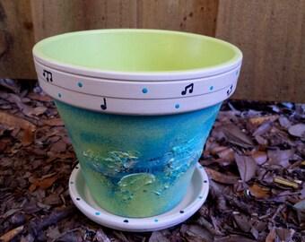 Peint Flower Pot - Music Lover cadeaux - Notes de musique - jardinière rustique - bleu et vert