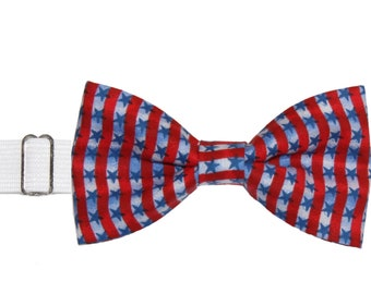 Men's Red White Stars Stripes Pre-Tied Cotton Bow Tie On Adjustable Twill Strap