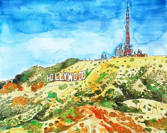 Hollywood Sign, Los Angeles, Original Watercolor