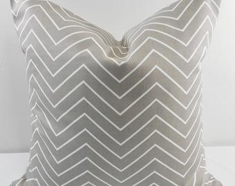 Ecru taupe  & White  Pillow cover. Chevron Print. Throw pillow cover. Cotton.Sham Pillow case. Select your size.
