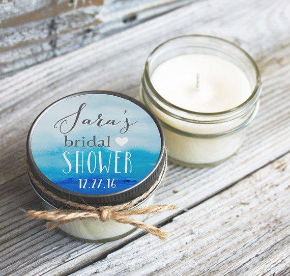 Set of 12 - 4 oz Soy Candle Bridal Shower Favors // Watercolor Heart Wedding Favors // Baby Shower Favors // Bachelorette Party Favors