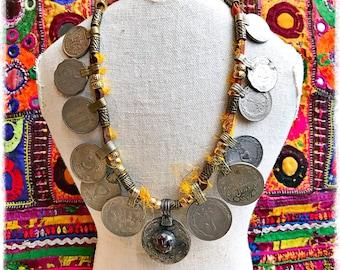 Mega Kuchi Coin & Recycled Sari Silk Necklace/Boho Head-Dress
