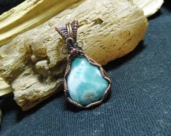 Small Blue Larimar Antique Wire Wrapped Pendant